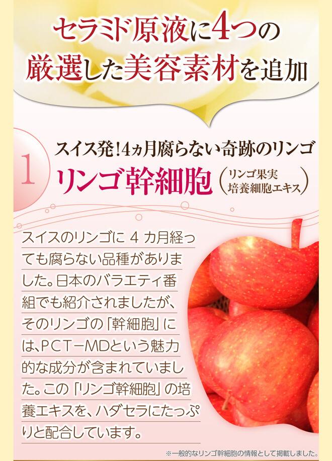 セラミド原液に1つの厳選した美容素材を追加1.リンゴ幹細胞