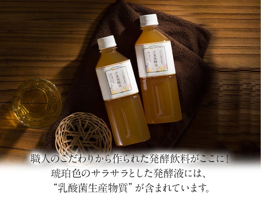 """職人のこだわりから作られた発酵飲料がここに!琥珀色のサラサラとした発酵液には、""""乳酸菌生産物質""""が含まれています。"""