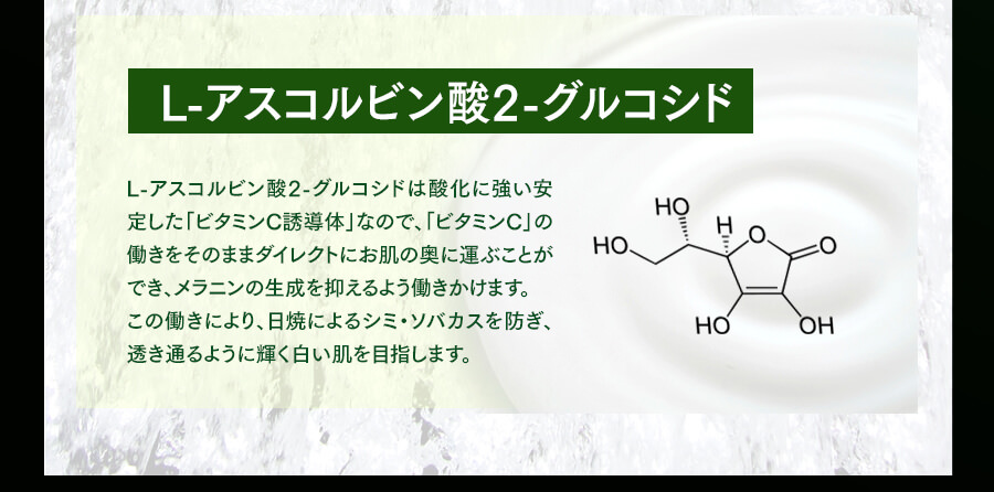 Lアスコルビン酸2グルコシド:酸化に強いビタミンC誘導体でメラニンの働きを抑制する働きがあります。