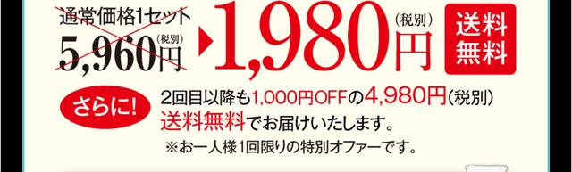 通常価格5,980円2回以降も1,000オフの4,980円送料無料です