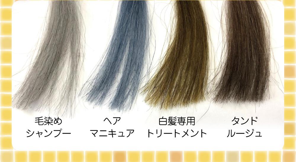 人の白髪の毛束を使って「染め力」のテストを実施。その結果がこちらです。