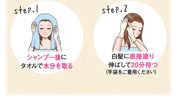 タオルで髪の水分を取って白髪部分に塗るだけ!